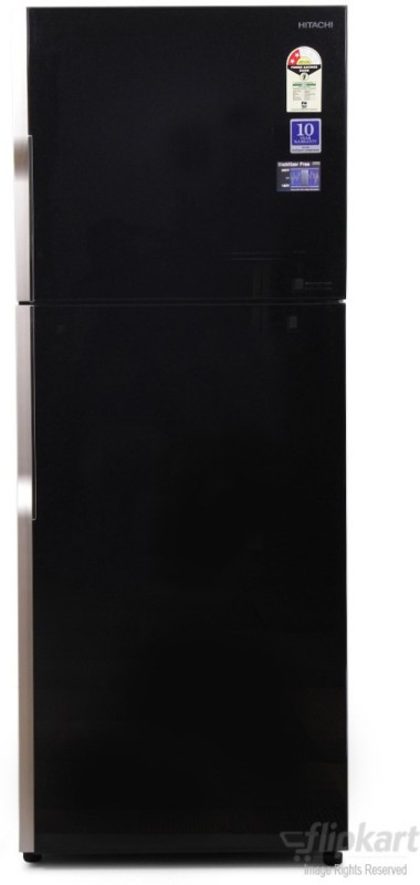 Hitachi 382 L Frost Free Double Door Refrigerator(Glass Black, R-VG400PND3-...