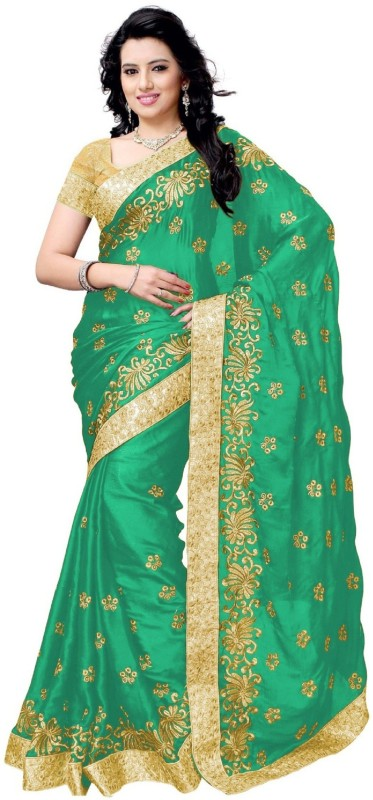 Active Embroidered Bollywood Satin Saree(Green)