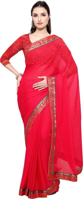 Lady Sringar Plain Fashion Shimmer Fabric Saree(Multicolor)