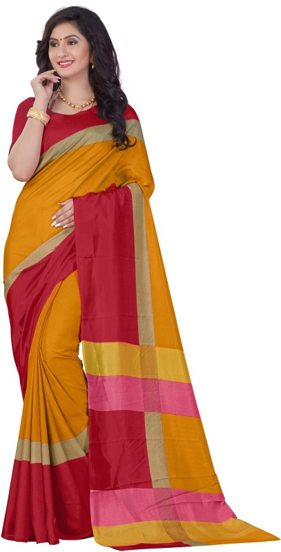 SGM Printed Fashion Kota Cotton Saree(Red, Yellow)
