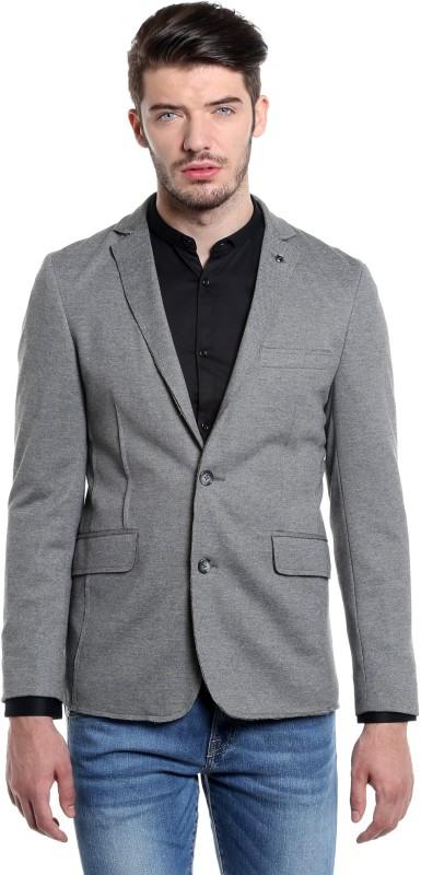 Jack & Jones Solid Single Breasted Casual Men Blazer(Grey)