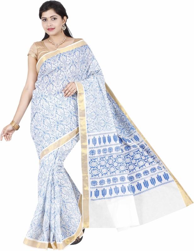 JISB Printed Kasavu Cotton Saree(Blue)