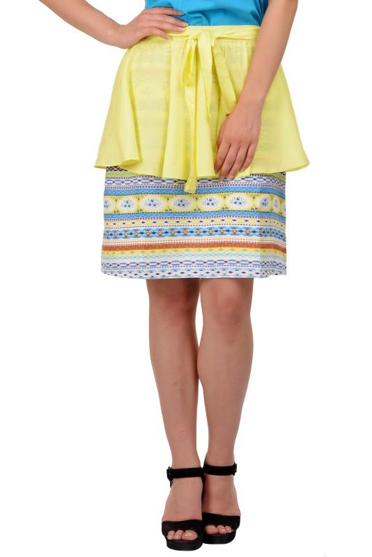 KARMIC VISION Self Design Women Layered Yellow Skirt