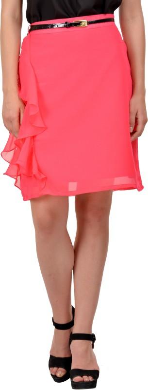 KARMIC VISION Self Design Women Layered Pink Skirt