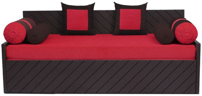 Auspicious Home Kaiden (2 Pillows, 4 Bolsters) Double Fabric Sofa Bed(Finish Color - Red Mechanism Type - Pull Out)
