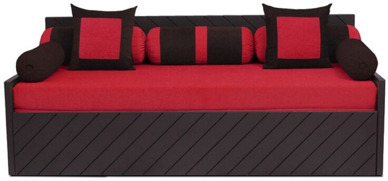 Auspicious Home Kaiden (2 Pillows, 5 Bolsters) Double Fabric Sofa Bed(Finish Color - Red Mechanism Type - Pull Out)