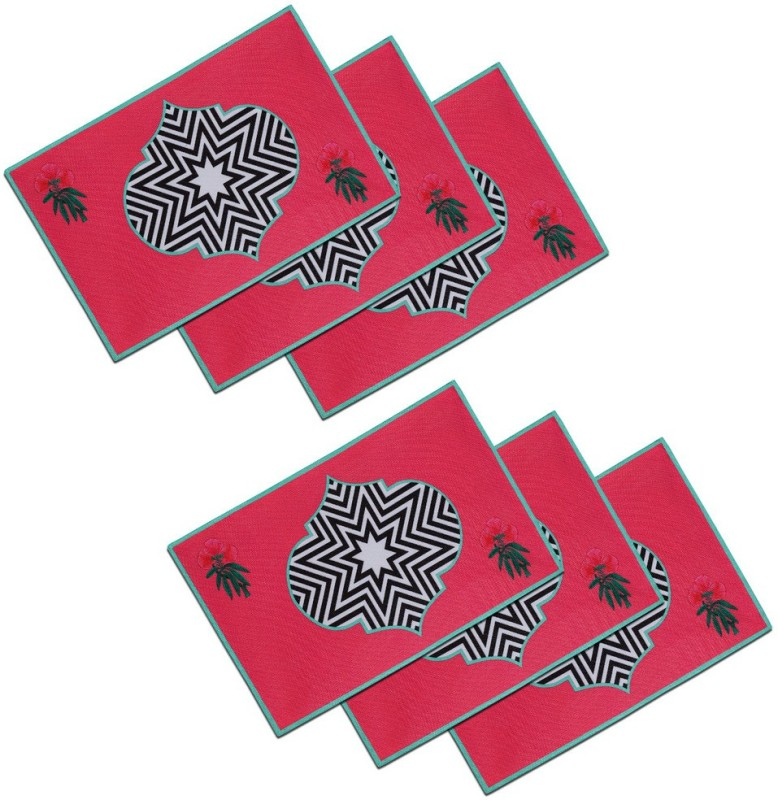 SEJ by Nisha Gupta Rectangular Pack of 6 Table Placemat(Multicolor, Cotton)