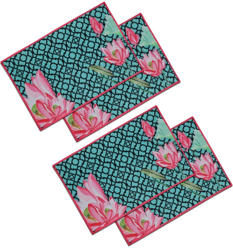 SEJ by Nisha Gupta Rectangular Pack of 4 Table Placemat(Multicolor, Cotton)