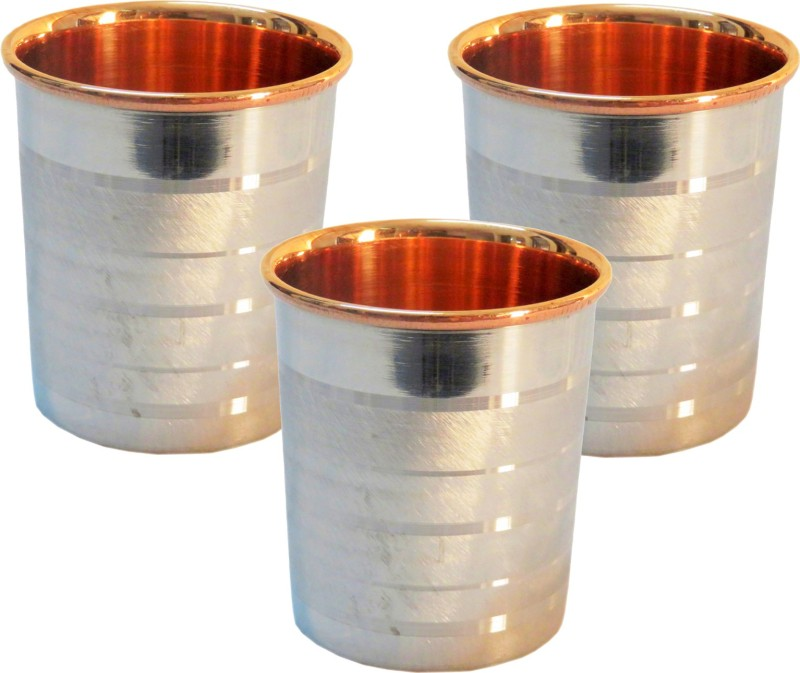 Indian Craft Villa Glass(300 ml, Steel, Pack of 3)