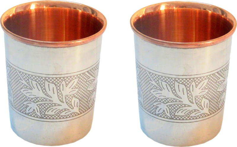 Indian Craft Villa Glass(300 ml, Steel, Brown, Pack of 2)