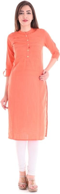 Style N Shades Solid Women Straight Kurta(Orange)