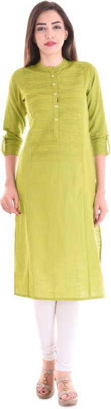 Style N Shades Solid Women Straight Kurta(Green)