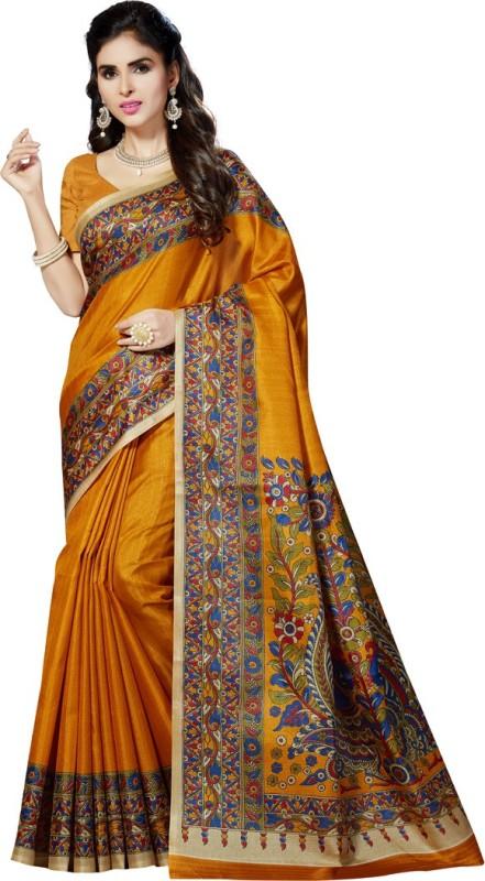 Rani Saahiba Printed Bhagalpuri Art Silk Saree(Mustard)