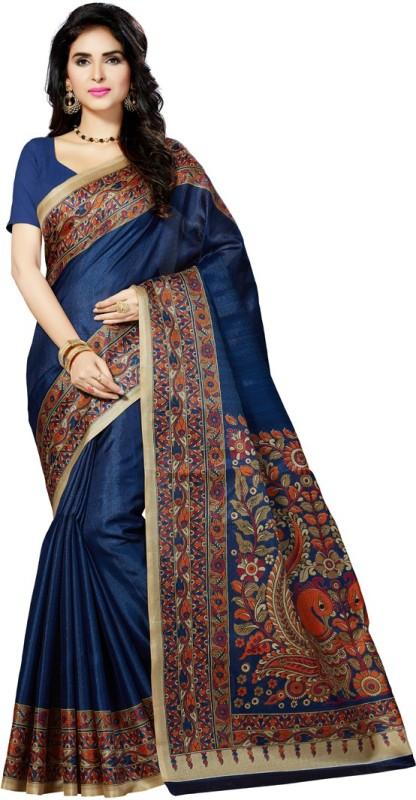 Rani Saahiba Printed Bhagalpuri Art Silk Saree(Dark Blue)