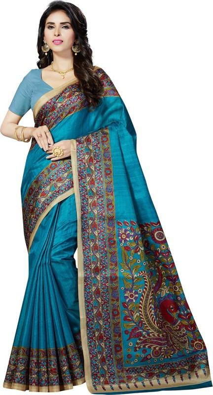 Rani Saahiba Printed Bhagalpuri Art Silk Saree(Light Blue)