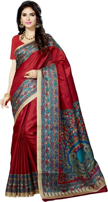 Rani Saahiba Printed Bhagalpuri Art Silk Saree(Maroon)
