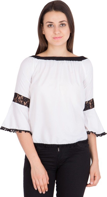 Khhalisi Casual Bell Sleeve Solid Women's White Top