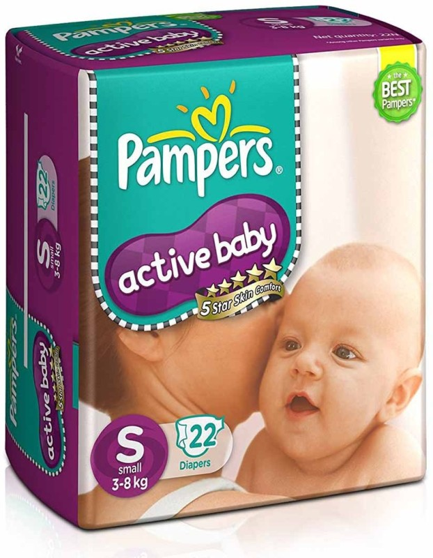Pampers Active Baby Diapers Small Size - S(22 Pieces)
