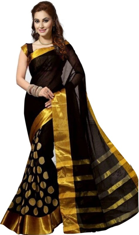 Ishin Self Design Bollywood Poly Silk Saree(Black)