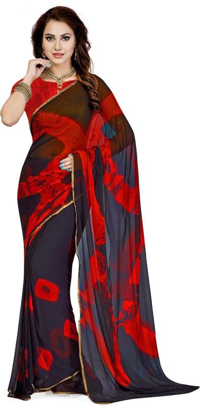 Ishin Printed Bollywood Chiffon Saree(Multicolor)