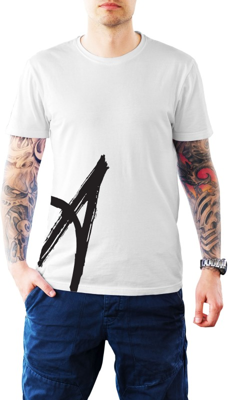 Fidele Printed Men's Round Neck White, Black T-Shirt