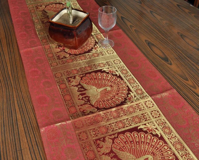 Lal Haveli Red 152 cm Table Runner(Silk)