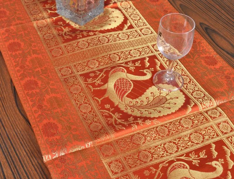 Lal Haveli Orange 152 cm Table Runner(Silk)