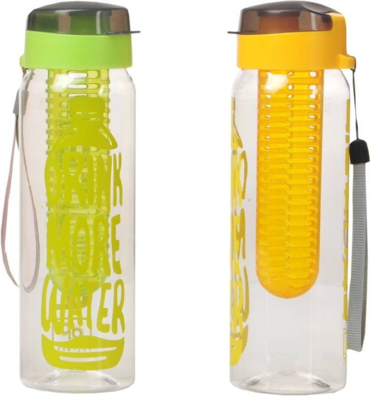 Steelo set of 2 steelo infuser fruit water bottle, sports water bottle 750 ml Bottle(Pack of 2, Green, Orange)