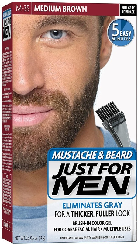 Just For Men Mustache and Beard Brush-In Color Gel Hair Color(Medium Brown)