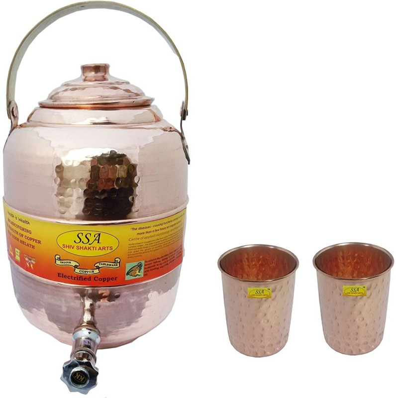 Shivshakti Arts Combo Of Handmade Pure Copper Pot Matka With 2 Glass Hammered Design C-936 12.1 L Drum(Brown, Pack of 3)