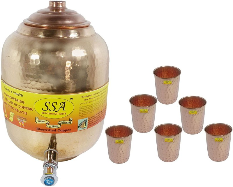 Shivshakti Arts Combo Of Handmade Pure Copper Pot Matka With 6 Glass Hammered Design C-970 13.3 L Drum(Brown, Pack of 7)