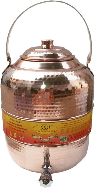 Shivshakti Arts Handmade Pure Copper Pot Matka Water Tank With Brass Handle Hammered Design C-566-1 11.5 L Drum(Brown, Pack of 1)