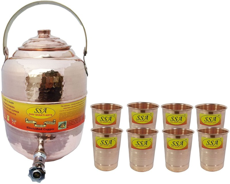 Shivshakti Arts Combo Of Handmade Pure Copper Pot Matka With 8 Glass Silver Touch Hammered Design C-947 13.9 L Drum(Brown, Pack of 9)