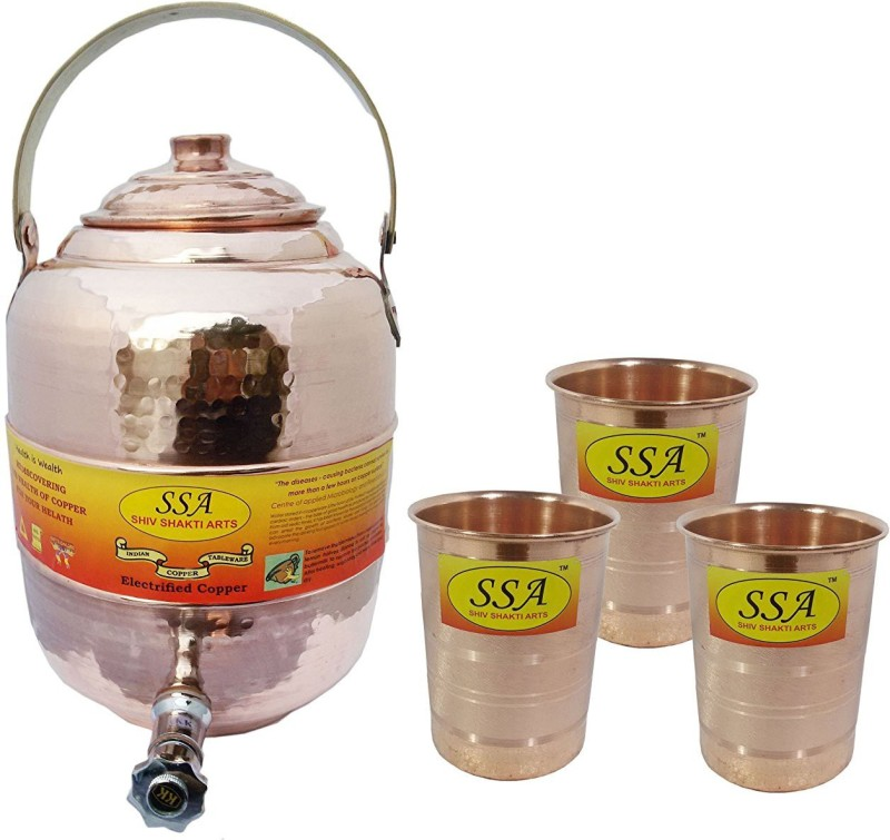 Shivshakti Arts Combo Of Handmade Pure Copper Pot Matka With 3 Glass Silver Touch Hammered Design C-943 12.4 L Drum(Brown, Pack of 4)