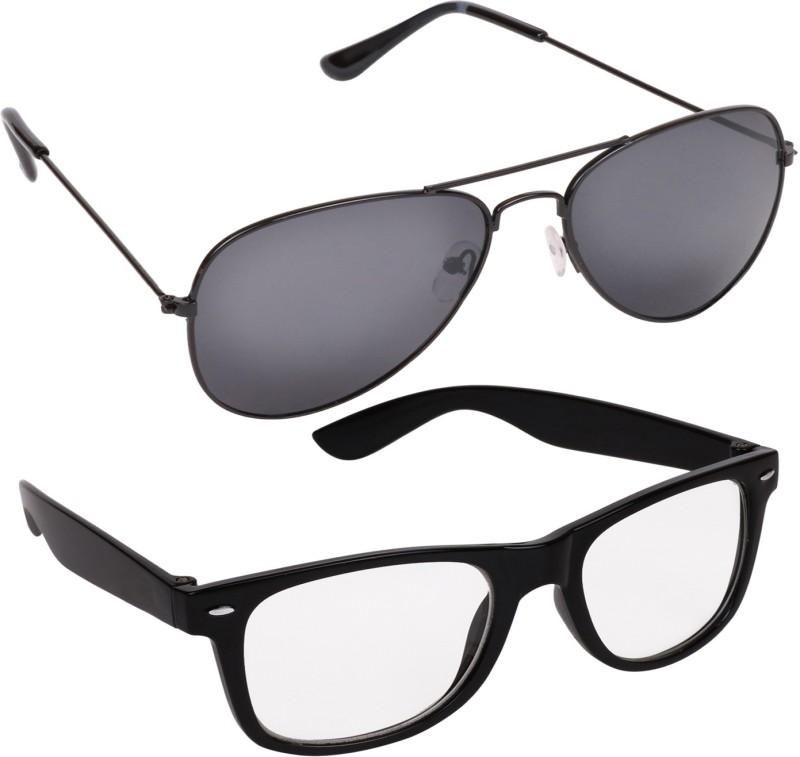 Criba Wayfarer, Aviator Sunglasses(Black, Clear) image