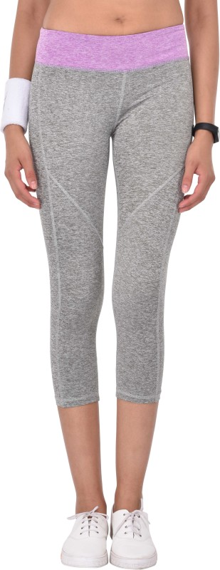 Active Soul Solid Women Grey, Purple Tights