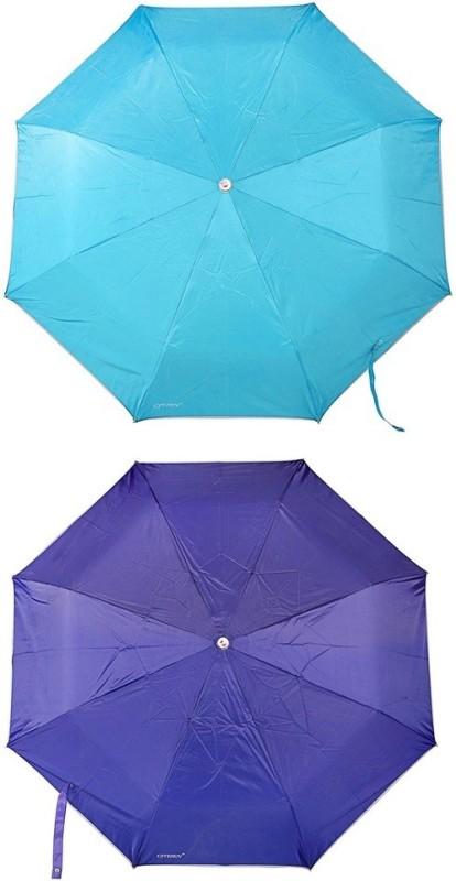 Bizarro.in 3 Fold Set of 2 Plain Office Men::Women_341 Umbrella(Ink Blue, Turquoise Blue)