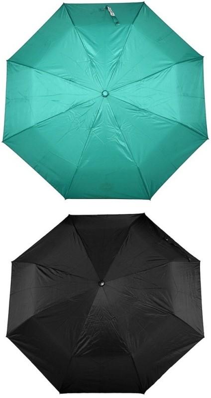 Bizarro.in 3 Fold Set of 2 Plain Office Men::Women_60 Umbrella(Black, Sea Green)