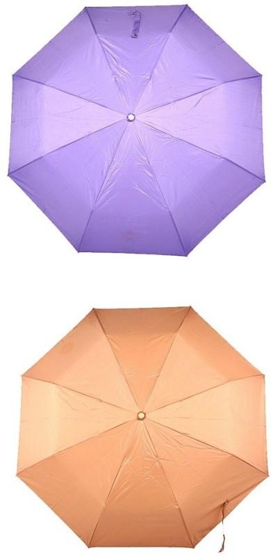 Bizarro.in 3 Fold Set of 2 Plain Office Men::Women_105 Umbrella(Bronze, Purple)
