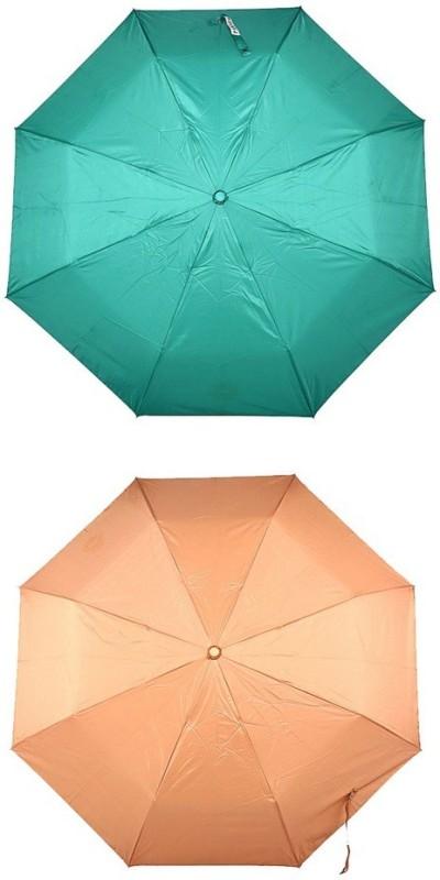 Bizarro.in 3 Fold Set of 2 Plain Office Men::Women_108 Umbrella(Bronze, Sea Green)