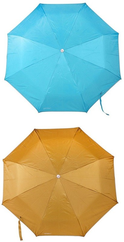 Bizarro.in 3 Fold Set of 2 Plain Office Men::Women_376 Umbrella(Mustard, Turquoise Blue)