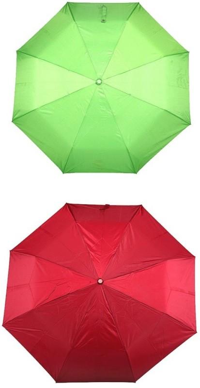 Bizarro.in 3 Fold Set of 2 Plain Office Men::Women_173 Umbrella(Maroon, Parrot Green)