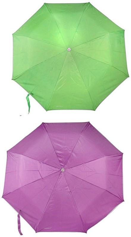 Bizarro.in 3 Fold Set of 2 Plain Office Men::Women_306 Umbrella(Dark Purple, Parrot Green)