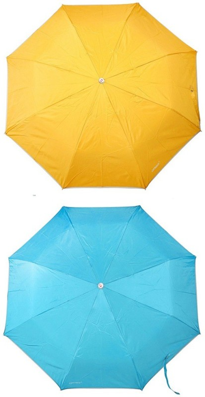 Bizarro.in 3 Fold Set of 2 Plain Office Men::Women_386 Umbrella(Turquoise Blue, Yellow)