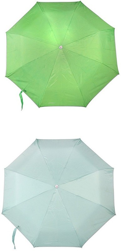 Bizarro.in 3 Fold Set of 2 Plain Office Men::Women_245 Umbrella(Aqua Blue, Parrot Green)