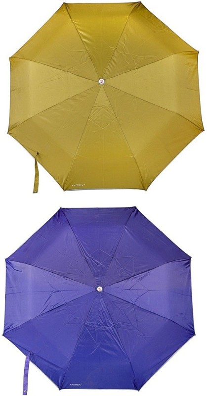 Bizarro.in 3 Fold Set of 2 Plain Office Men::Women_336 Umbrella(Ink Blue, Mehandi)