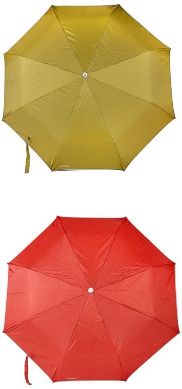 Bizarro.in 3 Fold Set of 2 Plain Office Men::Women_276 Umbrella(Brick Red, Mehandi)