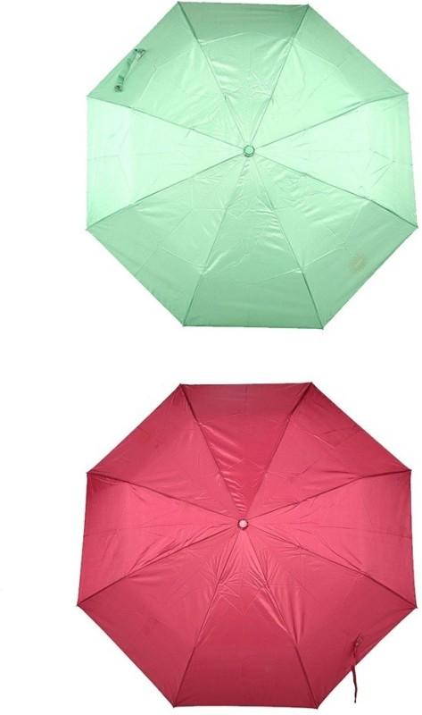 Bizarro.in 3 Fold Set of 2 Plain Office Men::Women_112 Umbrella(Dark Peach, Light Green)
