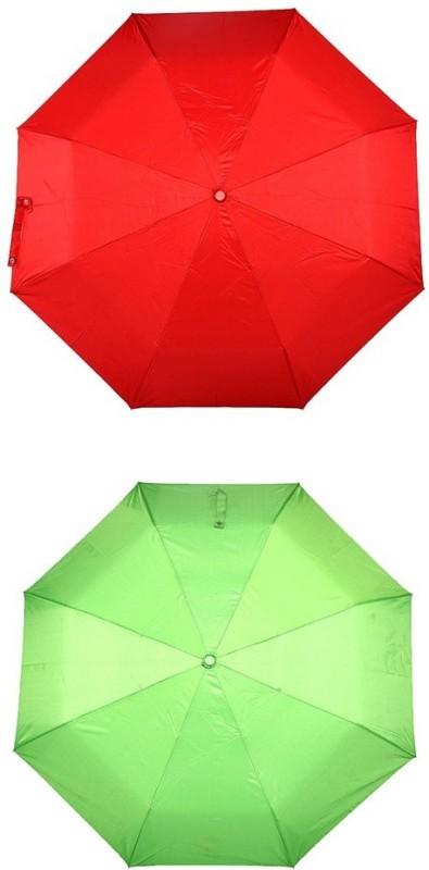 Bizarro.in 3 Fold Set of 2 Plain Office Men::Women_201 Umbrella(Parrot Green, Red)