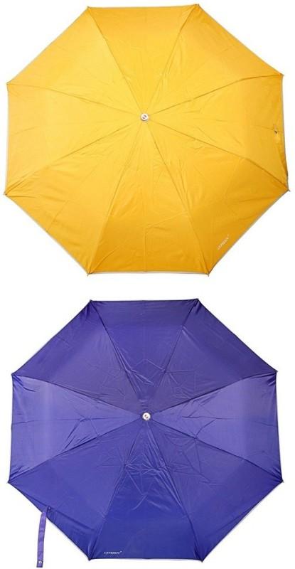 Bizarro.in 3 Fold Set of 2 Plain Office Men::Women_342 Umbrella(Ink Blue, Yellow)